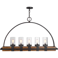 Picture for category Uttermost 21328 Island Lighting Real Wood and Weathered Bronze Rubber Wood/Glass/Steel Atwood