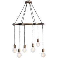 Picture for category Uttermost 22149 Chandeliers Antique Brass Steel Milo