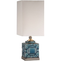 Picture for category Uttermost 29632-1 Table Lamps Crackled Blue Glaze and Polished Nickel Ceramic/Metal/Fabric Pacorro