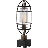 Picture for category Uttermost 29645-1 Table Lamps Black and Antique Brass Steel/Glass Newton