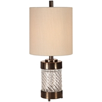 Picture for category Uttermost 29671-1 Table Lamps Dark Bronze and Spiral Textured Glass Iron/Glass Thorton