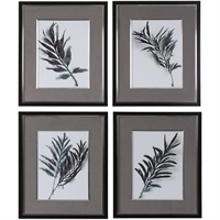 Picture for category Uttermost 33687 Decor Green and Grey Linen with Matte Black Plastic/Glass/KT Board Eucalyptus Leaes