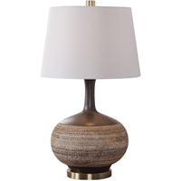 Picture for category World of Decor RL-337299 Table Lamps Natural Beige with Rustic Black Glaze Ceramic/Fabric/Iron Ankaa