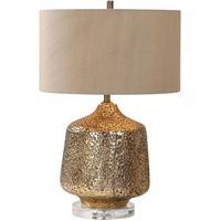 Picture for category World of Decor RL-337302 Table Lamps Metallic Gold Glaze and Crystal Ceramic/Crystal/Steel/Fabric Sarin