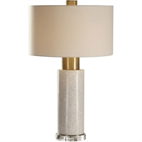 "Picture for category Table Lamps 1 Light Fixtures With Bleached Washed Concrete and Brushed Brass Concrete Crystal Iron Fabric 3-Way 18"" 150 Watts"