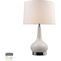 "Picture for category Table Lamps 1 Light Fixtures With Chrome with White Finish Ceramic Material E26 18"" 60 Watts"