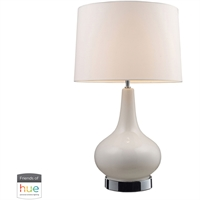 "Picture for category Table Lamps 1 Light Fixtures With Chrome with White Finish Ceramic Material E26 27"" 60 Watts"