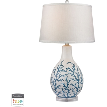 "Picture of Table Lamps 1 Light Fixtures With Pale Blue with White Finish Acrylic/Ceramic Material E26 27"" 60 Watts"