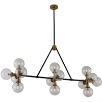 Picture for category Kalco Lighting 315454BPN Island Lighting Matte Black  With Nickel Accents Steel/Glass Cameo