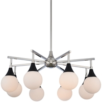 Picture for category Kalco Lighting 508570BPN Chandeliers Matte Black with Polished Nickel Steel/Glass Bogart