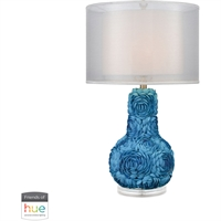 "Picture for category Table Lamps 1 Light Fixtures With Blue Finish Acrylic/Shell Material E26 28"" 60 Watts"