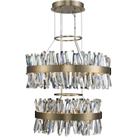 Picture for category Allegri 030256-038 Pendants Brushed Champagne Gold Stainless Steel and Crystal Glacier