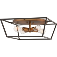 "Picture for category Bronze Tone Finish Flush Mounts 19"" Wide Steel Material Medium Type 4 Light Fixture"