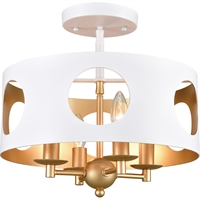 Picture for category World of Lighting WL343245 Semi Flush Matte White and Antique Gold Steel Spica