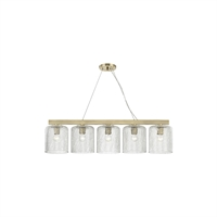 "Picture for category Island Lighting 5 Light Fixtures With Aged Brass Finish Steel/Glass Material E26 Bulb 10"" 300 Watts"
