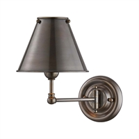 "Picture for category Wall Sconces 1 Light Fixtures With Distressed Bronze Finish Brass Material E12 Bulb 8"" 60 Watts"
