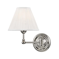 "Picture for category Wall Sconces 1 Light Fixtures With Polished Nickel Finish Brass and Silk Material E12 Bulb 8"" 60 Watts"