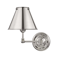 "Picture for category Wall Sconces 1 Light Fixtures With Polished Nickel Finish Brass Material E12 Bulb 8"" 60 Watts"