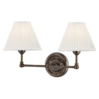 "Picture for category Wall Sconces 2 Light Fixtures With Distressed Bronze Finish Brass and Silk Material E12 Bulb 18"" 120 Watts"