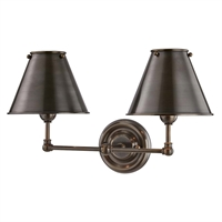 "Picture for category Wall Sconces 2 Light Fixtures With Distressed Bronze Finish Brass Material E12 Bulb 18"" 120 Watts"