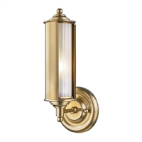 "Picture for category Wall Sconces 1 Light Fixtures With Aged Brass Finish Metal and Glass Material E26 Bulb 5"" 60 Watts"