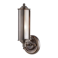 "Picture for category Wall Sconces 1 Light Fixtures With Distressed Bronze Finish Metal and Glass Material E26 Bulb 5"" 60 Watts"