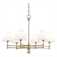 "Picture for category Chandeliers 6 Light Fixtures With Aged Brass Finish Metal and Silk Material E12 Bulb 23"" 360 Watts"