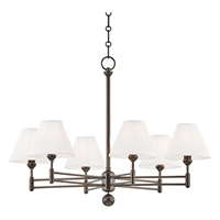 "Picture for category Chandeliers 6 Light Fixtures With Distressed Bronze Finish Metal and Silk Material E12 Bulb 23"" 360 Watts"