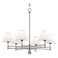 "Picture for category Chandeliers 6 Light Fixtures With Polished Nickel Finish Metal and Silk Material E12 Bulb 23"" 360 Watts"