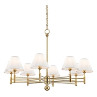 "Picture for category Chandeliers 8 Light Fixtures With Aged Brass Finish Metal and Silk Material E12 Bulb 26"" 480 Watts"