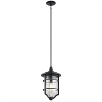 "Picture for category Outdoor Pendant 1 Light Fixtures With Distressed Black Finish Aluminum Material Medium Bulb 12"" 150 Watts"