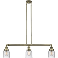 "Picture for category Antique Brass Island Lighting 38"" Wide Seedy Bell Glass Medium Base 3 Light Fixture"