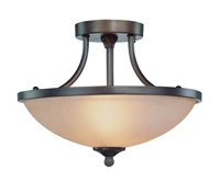 "Picture for category Bronze Tone Semi Flush 14"" Wide Tea-Stained Glass Steel Medium Bulb 2 Light Fixture"