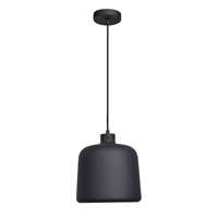 "Picture for category Pendants 1 Light Fixtures With Matte Black Finish Metal Material E-26 11"" 10 Watts"