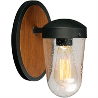 Picture for category Maxim Lighting 30011CDAPBK Wall Sconces Antique Pecan and Black Steel and Glass Lido