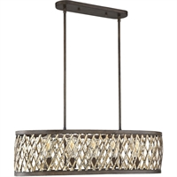 "Picture for category Island Lighting 5 Light Fixture with Fiesta Bronze Finish Metal Material E Bulb 17"" 300 Watts"
