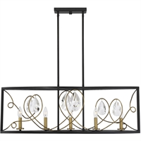 "Picture for category Island Lighting 5 Light Fixture with Como Black with Gold Finish Metal/Glass Material C Bulb 12"" 300 Watts"