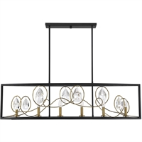 "Picture for category Island Lighting 6 Light Fixture with Como Black with Gold Finish Metal/Glass Material C Bulb 14"" 360 Watts"