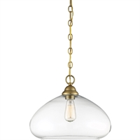 "Picture for category Pendants 1 Light Fixture with Warm Brass Finish Metal/Glass Material E Bulb 16"" 60 Watts"