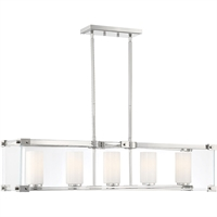 "Picture for category Island Lighting 5 Light Fixture with Polished Nickel Finish Metal/Glass Material E Bulb 10"" 300 Watts"