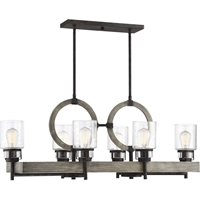 "Picture for category Island Lighting 6 Light Fixture with Noblewood with Iron Finish Metal/Glass Material E Bulb 18"" 360 Watts"