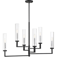 "Picture for category Island Lighting 6 Light Fixture with Matte Black with Polished Chrome Accents Finish Metal/Glass Material C Bulb 16"" 360 Watts"