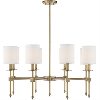 "Picture for category Chandeliers 8 Light Fixture with Warm Brass Finish Metal/Fabric Material C Bulb 34"" 480 Watts"