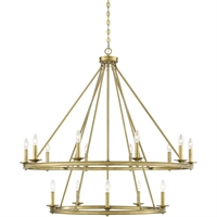 "Picture for category Chandeliers 15 Light Fixture with Warm Brass Finish Metal Material C Bulb 45"" 900 Watts"