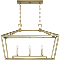 "Picture for category Island Lighting 3 Light Fixture with Warm Brass Finish Metal Material C Bulb 16"" 180 Watts"