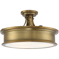 "Picture for category Semi Flush 3 Light Fixture with Warm Brass Finish Metal/Glass Material E Bulb 16"" 180 Watts"