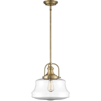"Picture for category Pendants 1 Light Fixture with Warm Brass Finish Metal/Glass Material E Bulb 14"" 60 Watts"