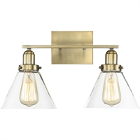 "Picture for category Bathroom Vanity 2 Light Fixture with Warm Brass Finish Metal/Glass Material E Bulb 18"" 120 Watts"