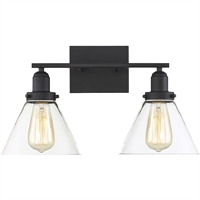 "Picture for category Bathroom Vanity 2 Light Fixture with Black Finish Metal/Glass Material E Bulb 18"" 120 Watts"