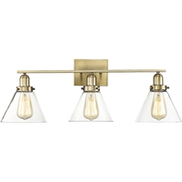 "Picture for category Bathroom Vanity 3 Light Fixture with Warm Brass Finish Metal/Glass Material E Bulb 29"" 180 Watts"